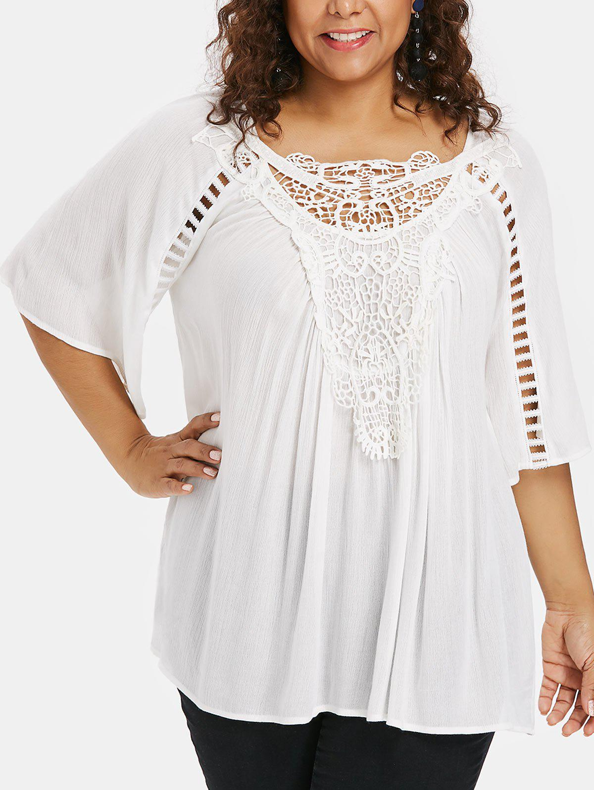 8ba25de3 28% OFF] Plus Size Applique Lace Flowy Blouse | Rosegal