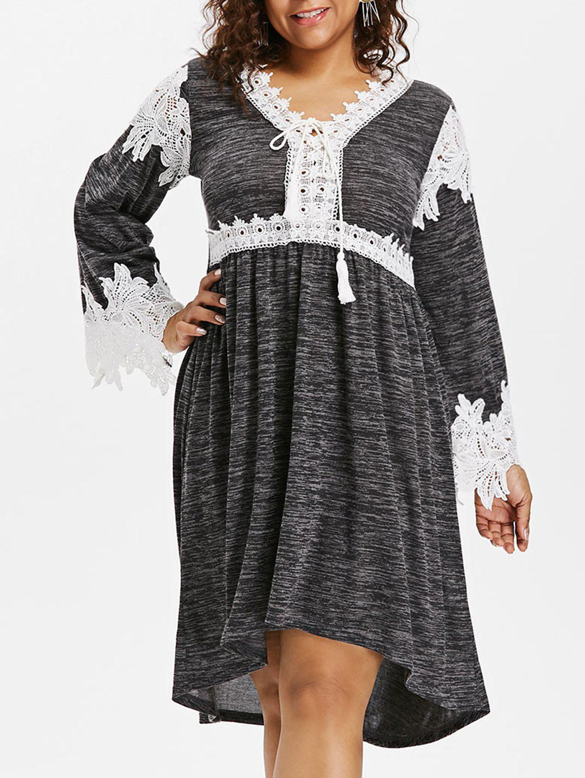 Online Plus Size Marled Lace Up Dress