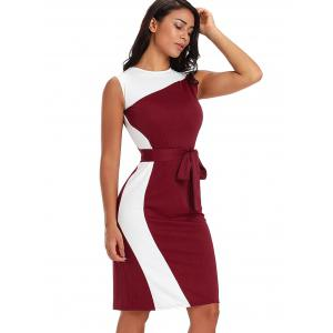 Color Block Bodycon Dress with Belt -