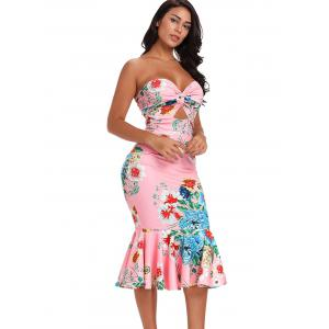 Cut Out Twist Front Floral Dress -