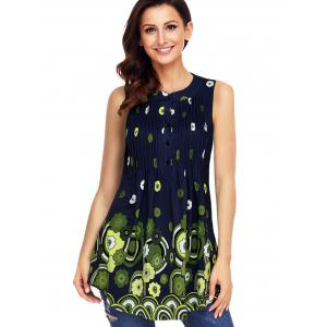 Floral Print Pleated Tank Top -