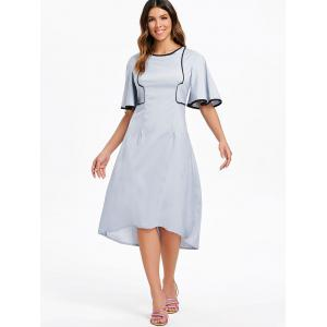 Round Neck Flare Sleeve High Low Dress -