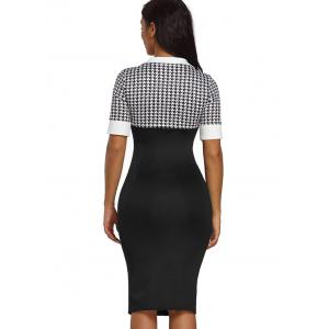 Slit Houndstooth Sleeve Bodycon Dress -