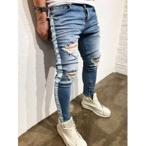 Zip Hem Distressed Paint Stripe Jeans -