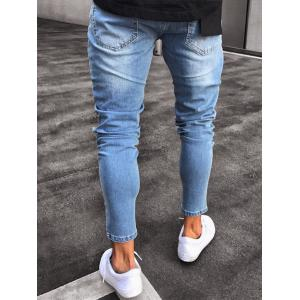 Zip Hem Destroyed Wash Jeans -