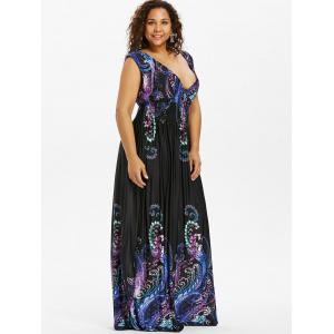 Paisley Plunge Maxi Evening Dress for Plus Size -