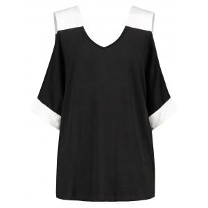 Open Cut Out Sleeve V Neck T-shirt -