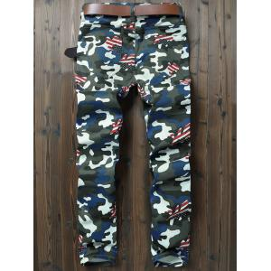 Camouflage American Flag Pattern Pencil Jeans -