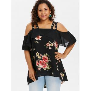 Plus Size Floral Cold Shoulder Blouse -