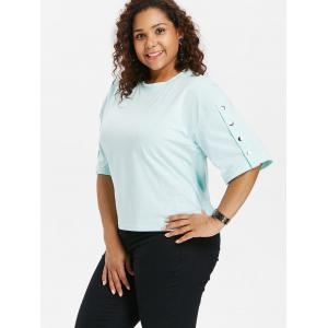 Plus Size Button Sleeve T-shirt -