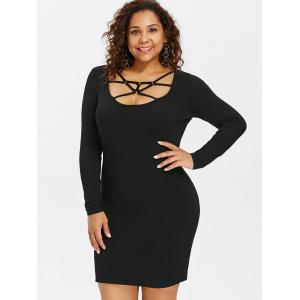 Plus Size Caged Cut Out Bodycon Dress -