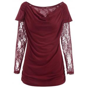 Ruched Lace Long Sleeve T-shirt -