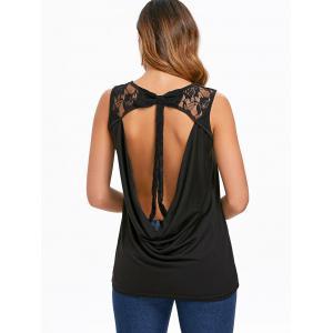 Bowknot Lace Back Cowl Tank Top -