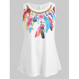 Plus Size Feather Flower Tank Top -