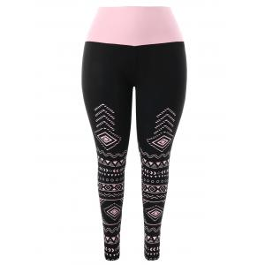 Plus Size Geommetric Print High Waisted Leggings -