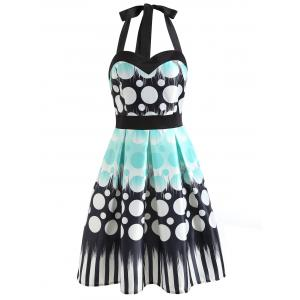 Halter Neckline Polka Dot Print Dress -