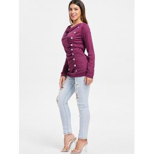 Button Embellished Cowl Neck T-shirt -