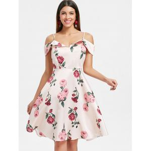 Floral Print Cold Shoulder A-Line Dress -