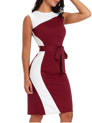 Fancy Color Block Bodycon Dress with Belt