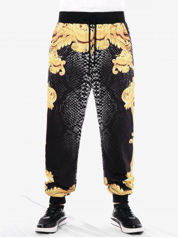 Casual Filigree Print Drawstring Pants