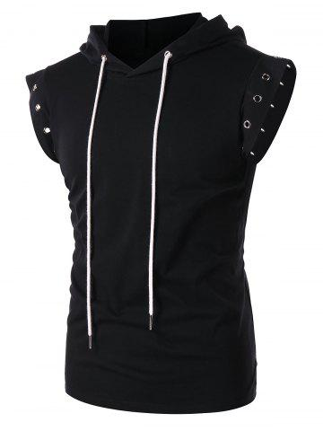 Online Solid Color Lace Up Sleeveless Drawstring Hoodie