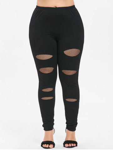 Trendy Plus Size Fishnet Trim Holes Leggings