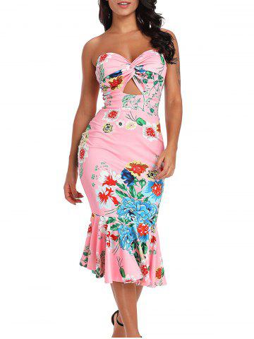 Discount Cut Out Twist Front Floral Dress