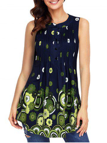 Best Floral Print Pleated Tank Top