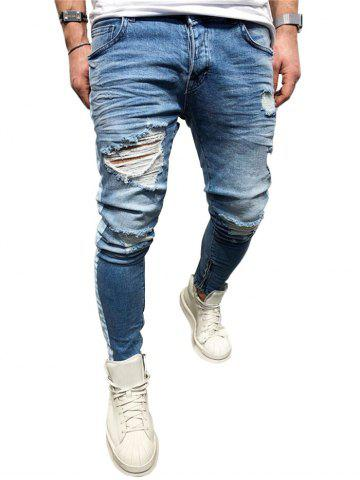 Outfits Zip Hem Distressed Paint Stripe Jeans