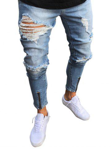 Trendy Zip Hem Destroyed Wash Jeans