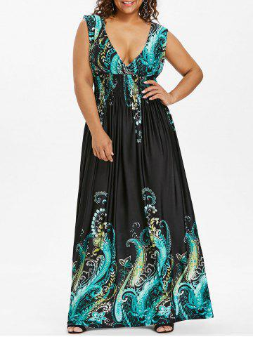 Shop Paisley Plunge Maxi Evening Dress for Plus Size