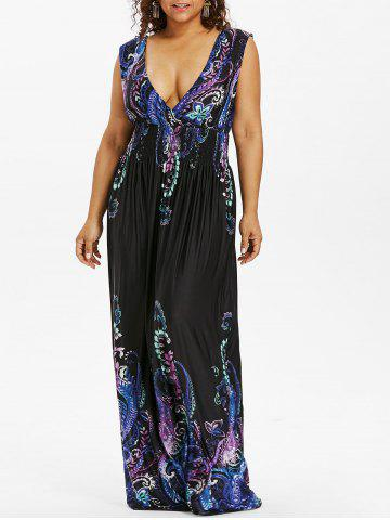Fashion Paisley Plunge Maxi Evening Dress for Plus Size