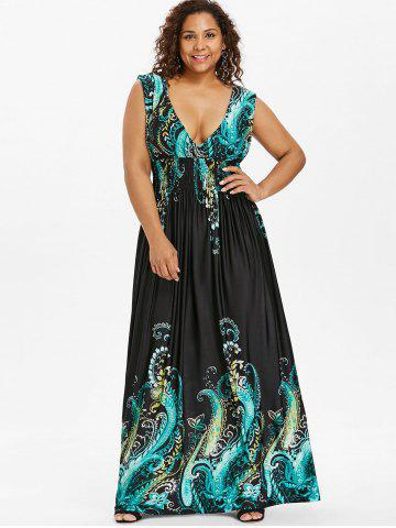 Plus Size Bohemian Maxi Dresses V Neck Floral And Long Cheap With