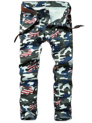 Best Camouflage American Flag Pattern Pencil Jeans