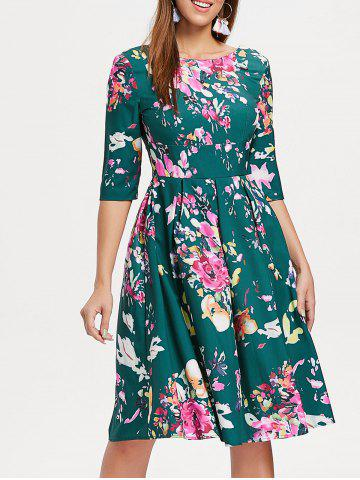Cheap Three Quarter Sleeve Floral Print Dress
