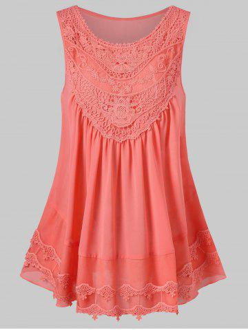 Discount Lace Embroidered Trapeze Tank Top