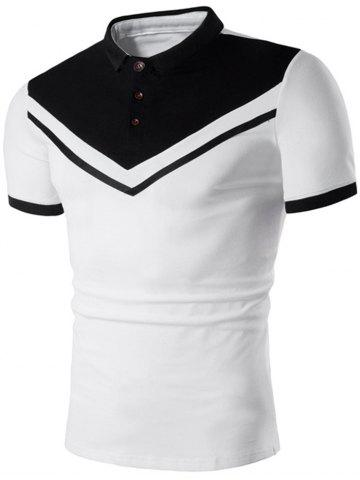 Chic Contrast Color Short Sleeve Polo Shirt