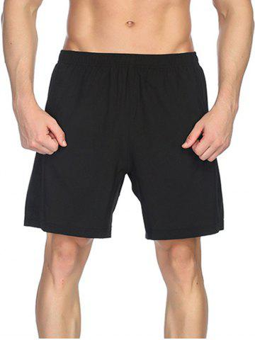 Fancy Elastic Waist Solid Color Sportive Shorts