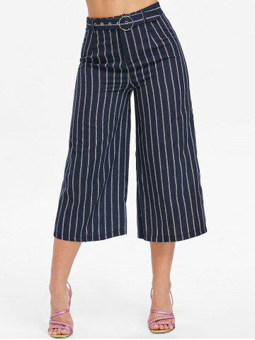 High Waist Striped Capri Pants - Cadetblue - Xl