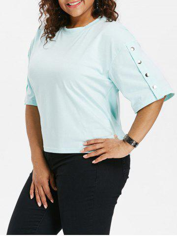 Trendy Plus Size Button Sleeve T-shirt