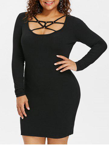Fashion Plus Size Caged Cut Out Bodycon Dress
