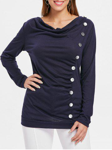 New Button Embellished Cowl Neck T-shirt