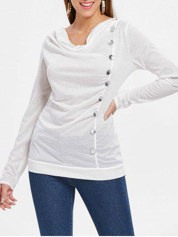 Buy Button Embellished Cowl Neck T-shirt