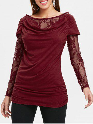 Discount Ruched Lace Long Sleeve T-shirt