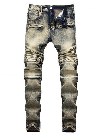 Fashion Vintage Pleated Zippers Embellished Straight Jeans