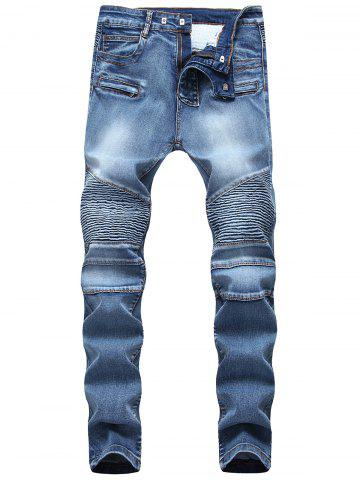 Fancy Multi-pocket Pleated Patchwork Jeans