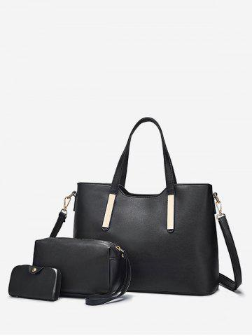 Practical PU Leather Sold 3 Pieces Tote Bag Set - Black