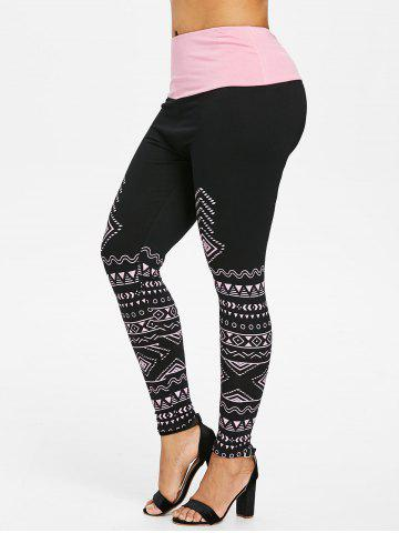 Shop Plus Size Geommetric Print High Waisted Leggings