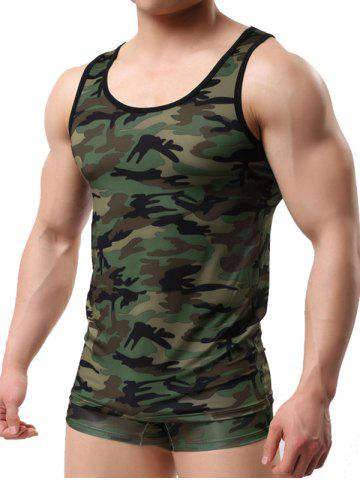 Discount Sleeveless Camo Pattern Tee