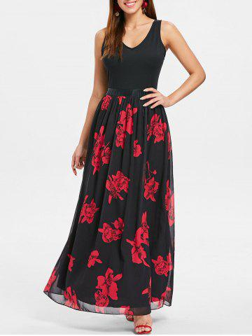 Unique V Neck Floral Maxi Dress
